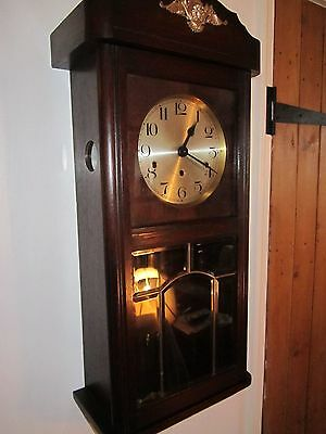 Antique Westminster Chiming Kienzle Dark Oak Wall Clock