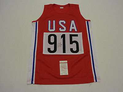 CARL LEWIS autographed signed USA Track Olympics red Jersey JSA Witness