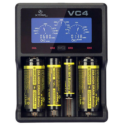 XTAR VC4 LCD Screen USB Battery Charger 18650 26650 32650 14500 AA AAA LD489 PK