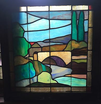 Early 20th century stained glass mission style stained glass window