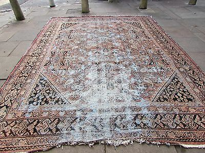 Antique Shabby Chic Old Hand Made Persian Oreintal Wool Pink Carpet 360x275cm