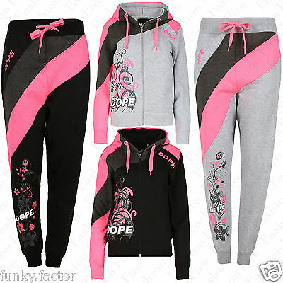 Neuer Frauen Damen DOPE Trainingshose Kapuzenpulli Trainingsanzug UK 6-14