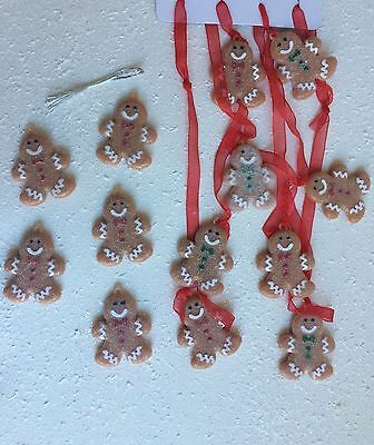 4 1/2' Garland & 5 Sugar Coated Gingerbread Men Candy Xmas Tree Decor Ornament
