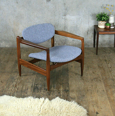 Mid Century Vintage Arthur Edwards Armchair Lounge Chair - In Grey Tweed