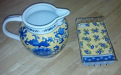 Ceramic Country French Scandinavian Style Pitcher w/Napkins & Holder Set