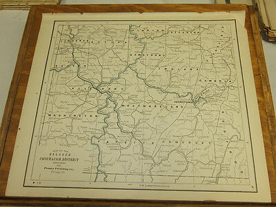 1890 Antique COLOR Map///JOHNSTOWN FLOOD VICINITY, DELUGED CONEMAUGH DISTRICT