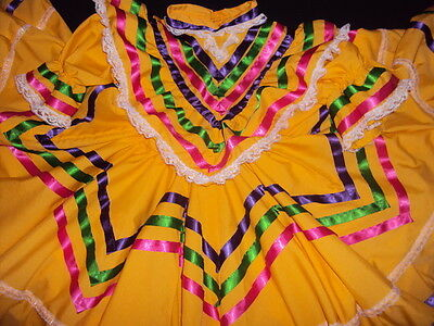 Mexican Folklorico Jalisco Style,Dance,Ballet Yellow Dress,Size 4-5