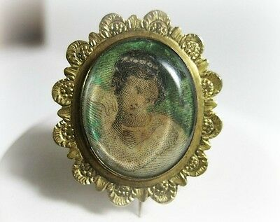 Antique Georgian Pin - Portrait Under Glass - Fichu - Lace Pin - Pinchbeck?