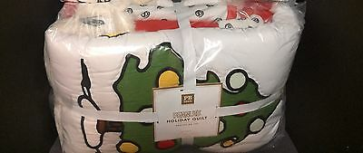 Pottery Barn Teen PEANUTS Full Queen F/Q QUILT Snoopy Christmas Holiday Bed NEW