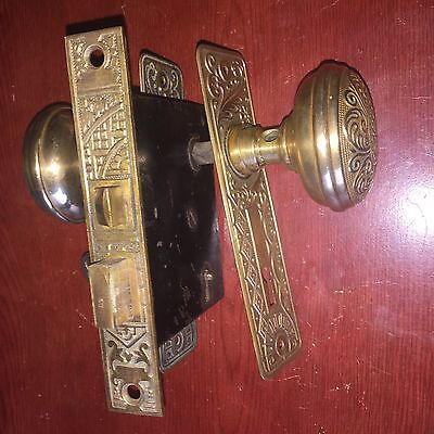 Antique Victorian Brass  Eastlake Lockset With Skeleton Working Key