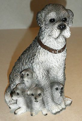 Portuguese water dog with 5 pups figurine