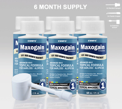 Minoxidil 4in1 Topical Mens Maxogain 6x60mL 5% Active + Nutrient Inhibiter