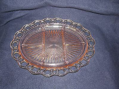 """Pink Hocking Depression Glass-Old Colony/Lace Edge 5-Part 12 3/4"""" Relish Platter"""