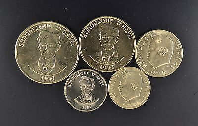 Haiti 5 Different High Grade Vintage Coin Set Low Price !!