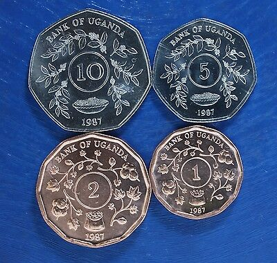 Uganda 4 Diff Unc Coins Set 1 2 5 10 Shillings 1987 Best Price On Ebay !!!