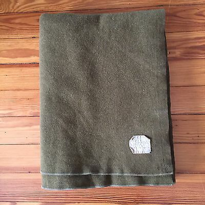 "VINTAGE WWII MILITARY US ARMY ISSUE 60""x 78"" 100% WOOL GREEN BLANKET"