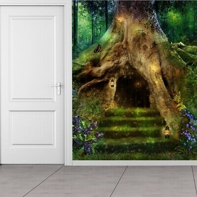 Magical Tree House Wall Mural Fairytale Forest Photo Wallpaper Girls Home Decor