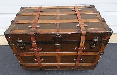 Antique Vintage Flat Top Steamer Trunk Luggage Table Storage w Glass