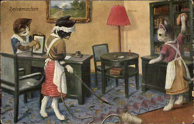 German Cat Fantasy Cleaning House Maids c1910 Postcard