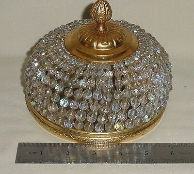 """Brass Czech Crystal Beads Empire Style Ceiling Light Fixture Sconce 6"""" Wired"""