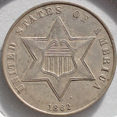 1862 3CS Three Cent Silver Type Coin Almost Uncirculated AU