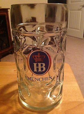 HB MUNCHEN STEIN GLASS BEER MUGS Dimple Glass