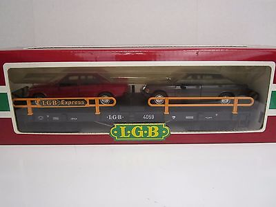 LGB G #4059 Mercedes Benz Auto Carrier with Two Cars