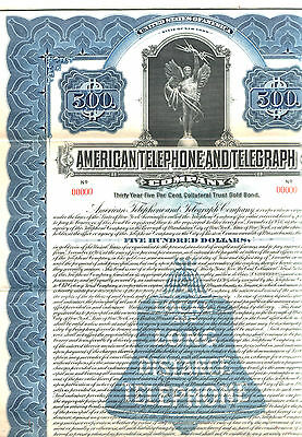 FULL SIZE REPRINT XXX-RARE 1916 AT&T SPECIMEN BOND! OLD BELL LOGO/ANGEL w CABLES