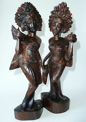 Balinese Girls with Temple Offering Traditional Dress Vintage Bali Wood Carving