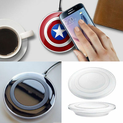 QI For Samsung Galaxy S8 S7 Edge S6 S5 Fast Wireless Charger Pad Captain America