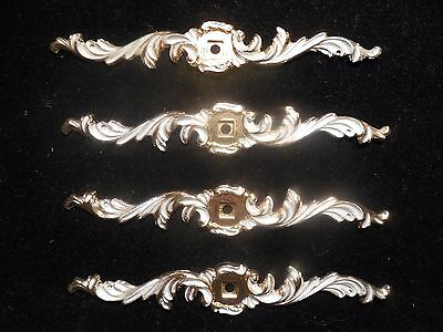 Four Brass Furniture Hardware Drawer Pulls Face Plate Made In Usa