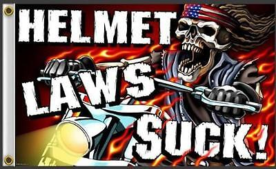 Helmet Law Suck Skeleton Riding Bike  3 X 5 Motorcycle Biker Flag #379 New