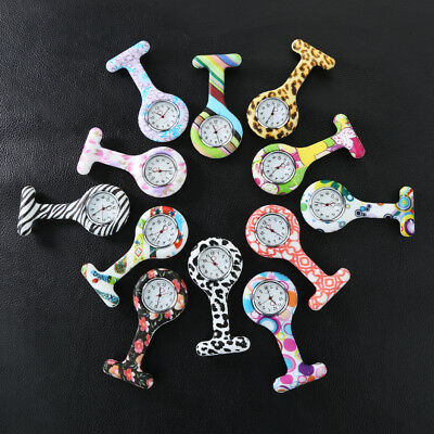 Lovable Patterned Silicone Nurses Brooch Fob Pocket Watch Stainless Dial Novelty