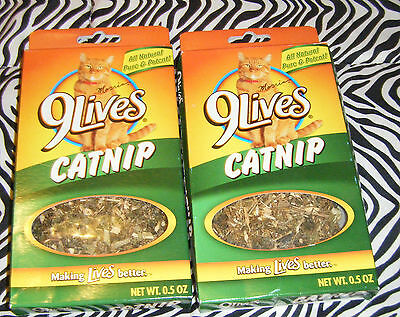 2 Boxes 9 Lives Loose Catnip All Natural Pure & Potent
