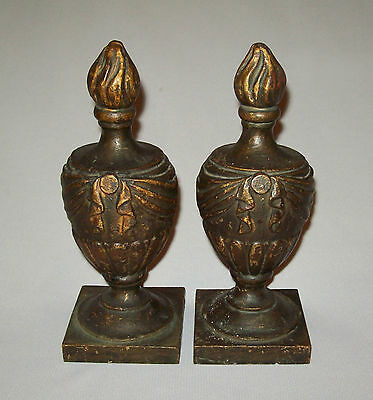 Antique vtg 19th C 1850's pair Cast Iron Federal Urn Finials original paint arch