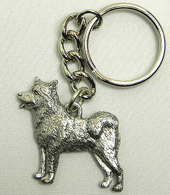 Alaskan Malamute Dog Keychain Keyring Harris Pewter Made USA Key Chain Ring