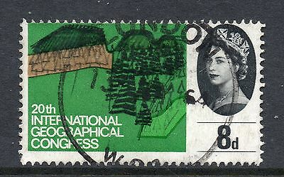 GB = 1964 8d Geographical (Ord), Mis-Perfed upwards. Design through top perfs.