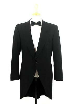 vintage mens black LORD WEST morning coat cutaway tuxedo jacket tails XS 34 R