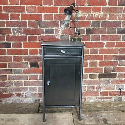 Industrial Vintage Polished Metal Factory Bedside Cabinet