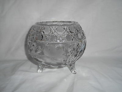 Vintage Large Heavy Crystal Footed Bowl * Etched Flowers