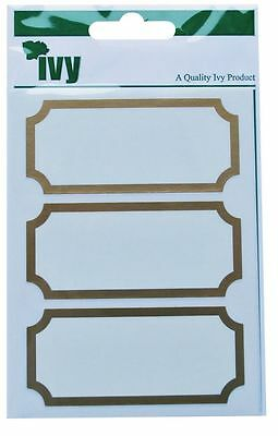 IVY Gold Border Stickers Labels Self Adhesive Sticky