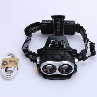 10000Lm 2x T6 LED Rechargeable Headlamp Headlight Light Torch lamp Flashlight UK