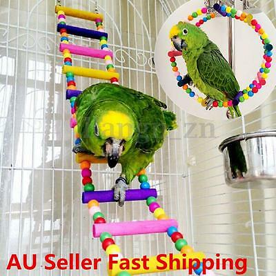 Wooden Bridge Ladder Climb Parrot Bird Play Stand Activity Chew Toy Avairy Cage