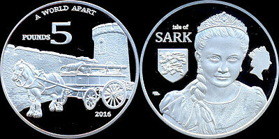 Isle of Sark 5 pounds 2016  (Unusual coin)