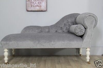 Traditional Small Buttoned Back Light Grey Velvet Fabric Chaise