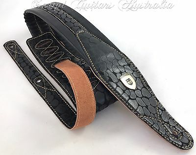 "Genuine Leather Super Soft Padded ""Ancient Rock"" Guitar Strap"