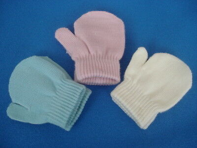 Baby Infant Toddler Mittens Hand Warmers Gloves One Size Pink Blue Cream At65