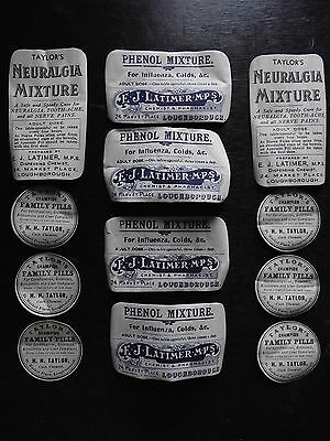 Collection of Edwardian Period Chemist Bottle Labels old victorian vintage jars