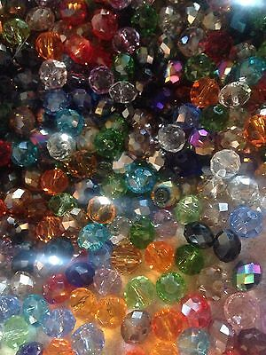 60 Austrian Crystal Glass Round Beads -  Mixed Colour - 8mm