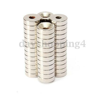 50pcs Strong Ring Round Magnets Disc Hole N50 Rare Earth Neodymium 10mm x 3mm